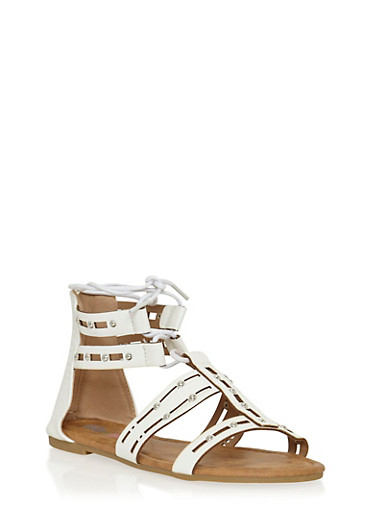 Girls 11-4 Studded Lace Up Gladiator Sandals with Cutouts,WHITE,large