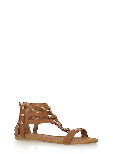 Girls 11-4 Studded Zip Back Gladiator Sandals,TAN,large