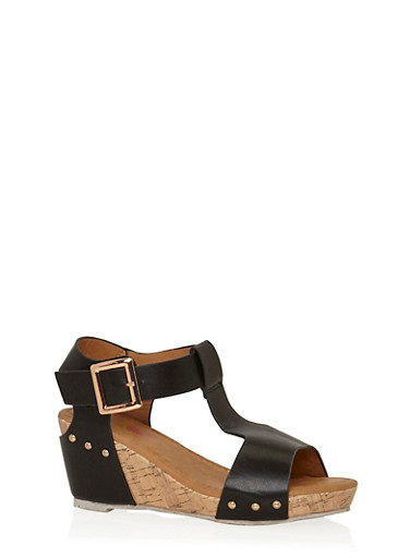 Girls 11-4 Faux Leather T Strap Wedge Sandals,BLACK,large