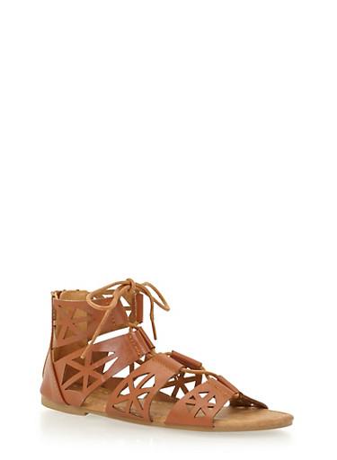 Girls 11-4 Laser Cut Lace Up Gladiator Sandals,TAN,large