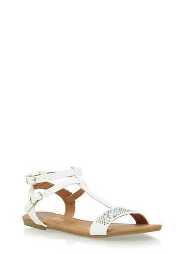 Girls 11-4 T Strap Studded Sandals,WHITE,large