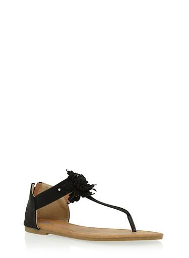 Girls 11-4 Flower Thong Sandals,BLACK,large
