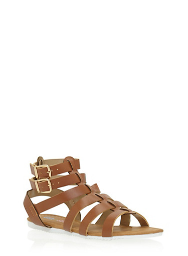 Girls 11-4 Double Strap Gladiator Sandals,TAN,large