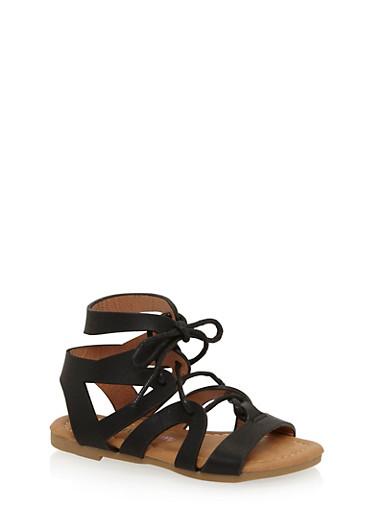 Girls 5-10 Lace Up Zig Zag Gladiator Sandals,BLACK,large