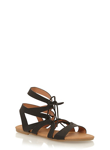 Girls 11-4 Lace Up Gladiator Sandals,BLACK,large