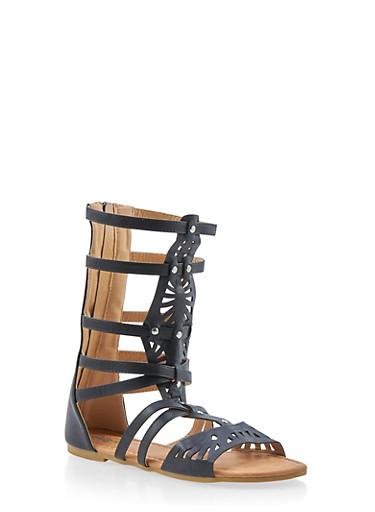 Girls 11-4 Tall Studded Lasercut Gladiator Sandals,BLACK,large