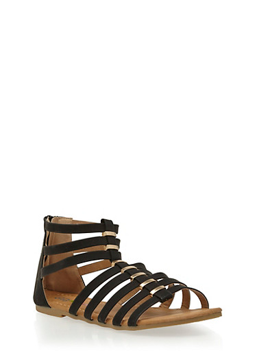 Girls 11-4 Faux Leather Gladiator Sandals with Metal Accents,BLACK,large