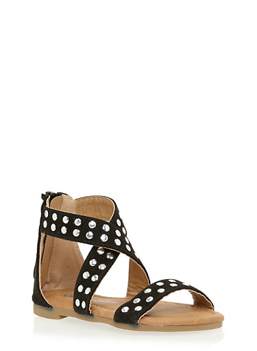 Girls 5-10 Studded Cross Strap Sandals with Zip Back,BLACK,large