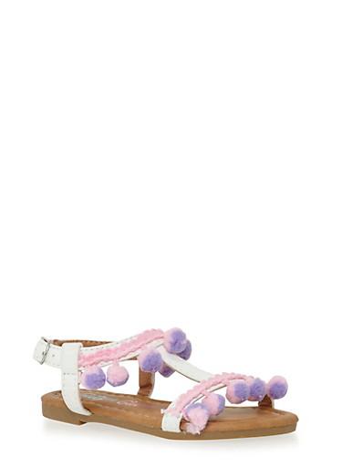 Girls 5-10 Pom Pom Fringe Sandals,WHITE,large