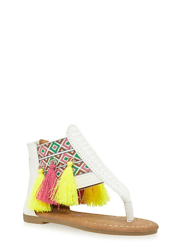 Girls 5-10 Aztec T Strap Sandals with Multicolored Tassels,WHITE,large
