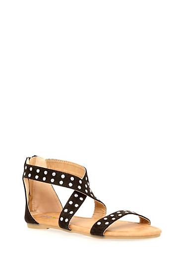 Girls 11-4 Studded Cross Strap Sandals,BLACK,large