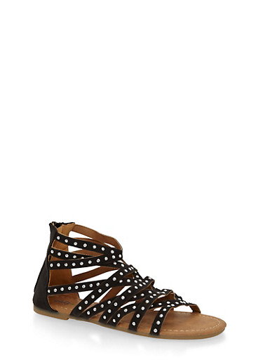 Girls 11-4 Studded Criss Cross Gladiator Sandals,BLACK,large