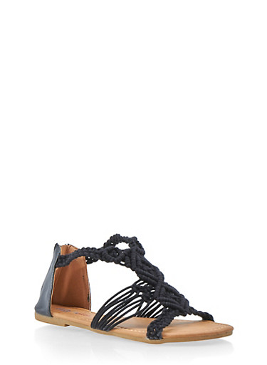 Girls 11-4 Crochet Rope Strappy Sandals,BLACK,large