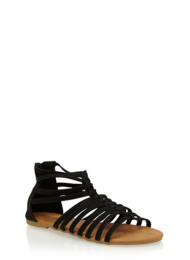 Girls 11-4 Braided Gladiator Sandals,BLACK,large