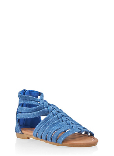 Girls 5-10 Braided Gladiator Sandals,DENIM,large