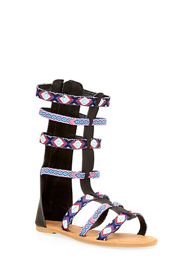 Girls 11-4 Tall Tribal Gladiator Sandals,BLACK,large