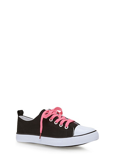 Girls 12-4 Canvas Tennis Sneakers with Contrast Laces,BLACK,large