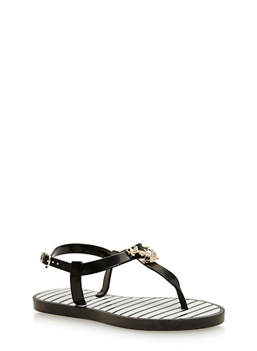 Girls 11-4 T Strap Jelly Sandal with Anchor Medallion,BLACK,large