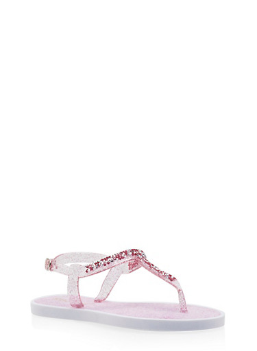 Girls 11-4 Studded Glitter Jelly Thong Sandals,PINK,large
