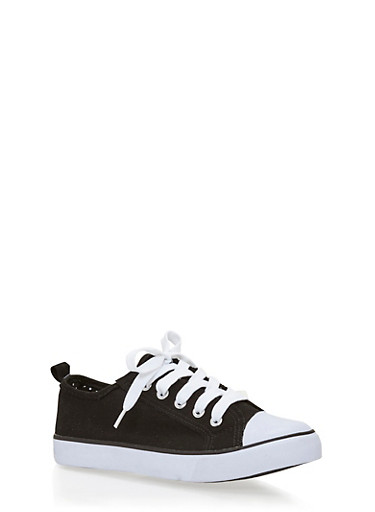 Girls 12-4 Solid Tennis Sneakers,BLACK,large