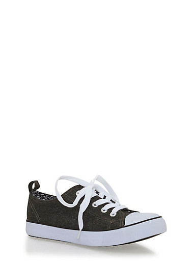 Girls 12-4 Double Tongue Lace Up Canvas Sneakers,BLACK,large