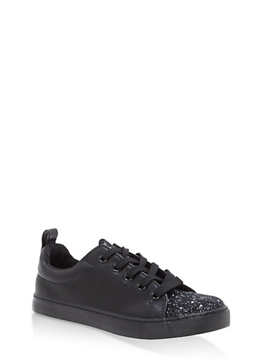 Girls 12-4 Glitter Detail Lace Up Sneakers,BLACK,large