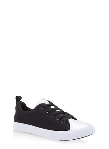 Girls 11-4 Metallic Detail Lace Up Sneakers,BLACK/SILVER,large