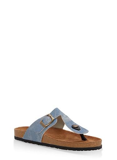 Girls 12-4 Denim Print T Strap Footbed Sandals,LIGHT WASH,large