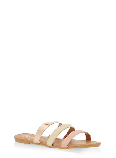 Girls 12-4 Triple Strap Slide Sandals,BLUSH,large