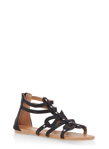 Girls 11-4 Studded Gladiator Sandals,BLACK,large