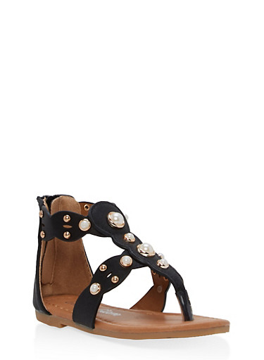 Girls 5-10 Faux Pearl Sandals,BLACK,large