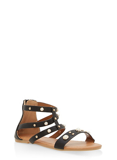 Girls 11-4 Faux Pearl Sandals,BLACK,large