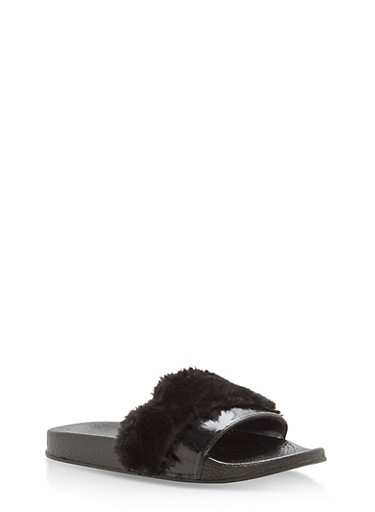Girls 11-4 Faux Fur and Leather Slides,BLACK,large