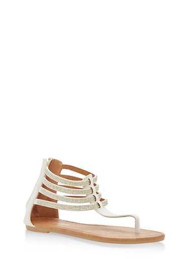 Girls 11-4 Strappy Rhinestone Thong Sandals,WHITE,large