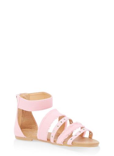 Girls 11-4 Grommet Denim Strappy Sandals,PINK,large