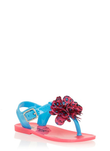Girls 4-6 Teal and Pink Thong Jelly Sandals with Flower,TEAL/PINK,large