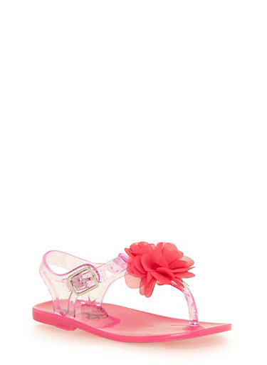 Girls 6-10 T Strap Jelly Sandals with Flower Detail,NEON PINK,large