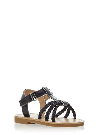 Baby Girl Open Toe Sandals,BLACK,large