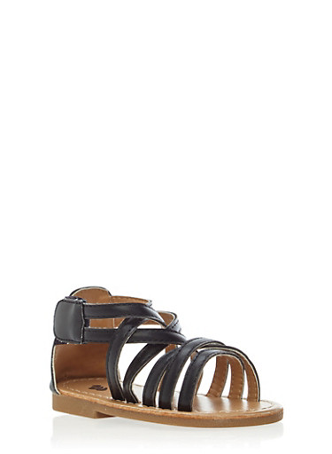 Baby Girl Criss Cross Strap Sandals with Velcro,BLACK,large