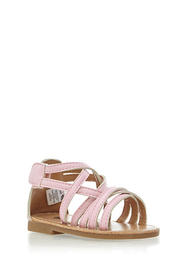 Baby Girl Strappy Sandals,PINK,large
