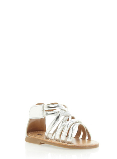 Baby Girl Gladiator Sandals,SILVER,large