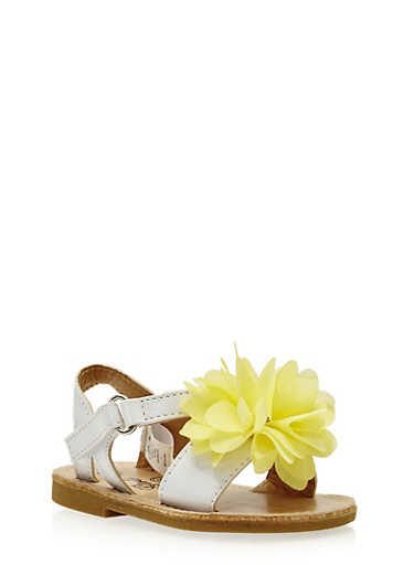 Baby Girl Sandals with Flower Accent,WHITE/YELLOW,large
