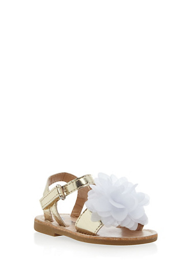 Baby Girl Metallic Sandals with Flower Detail,GOLD/WHITE,large