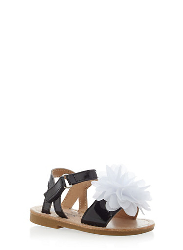 Baby Girl Ankle Strap Sandals with Flower Accent,BLACK/WHITE,large