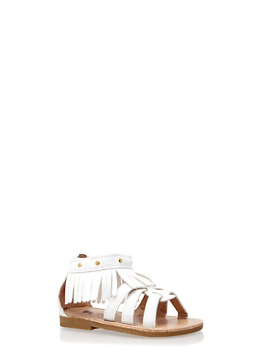 Baby Girl Faux Leather Studded Fringe Sandals,CREAM,large