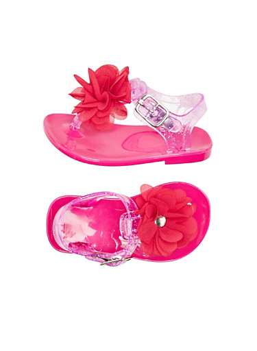 Baby Girl Glitter Jelly Sandals with Flower Accent,HOT PINK,large