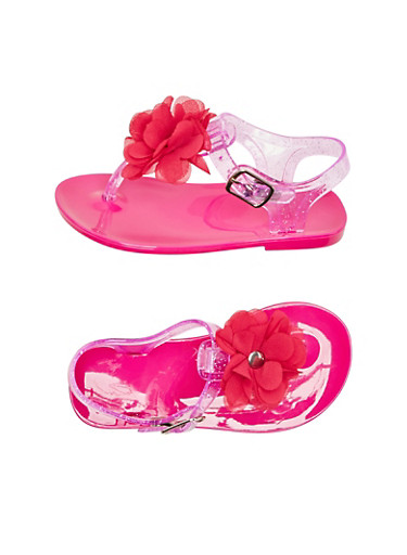 Toddler Girls Glitter Jelly Sandals with Rhinestone Flower Accent,NEON PINK,large