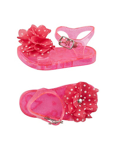 Baby Girl Glitter Jelly Sandals with Polka Dot Flower Applique,HOT PINK,large