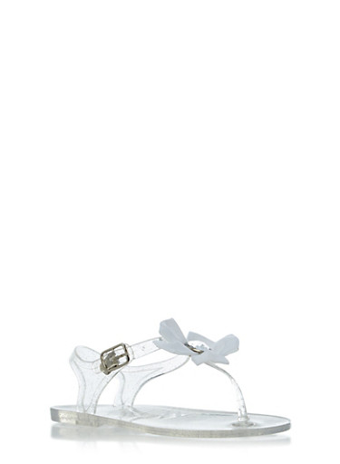 Girls Glitter Jelly Thong Sandals with Rhinestone Flower,CLEAR,large