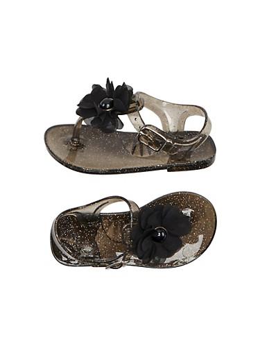 Toddler Girls Glitter Jelly T Strap Sandals with Gemstone Flower,BLACK,large